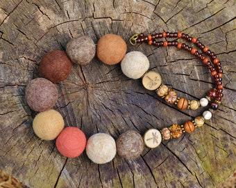 Felted bead necklace, Felted necklace, Felted jewelry neck, Alternative Jewelry, Happy rainbow colours