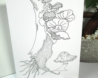 coloring card mushroom tree design 5x7 size greeting card