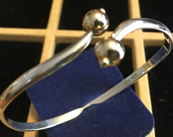 Sterling silver bangle with 14K yellow gold balls    VJSE