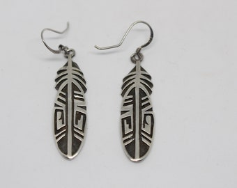 Vintage Hopi Sterling Silver Earrings - Feather