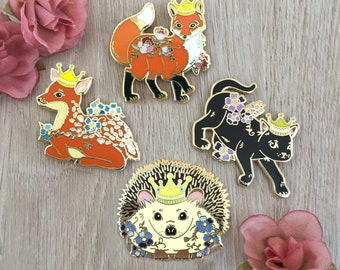 Crowned Animal Hard Enamel Pin Bundle, Black Cat, Fox, Deer, Hedgehog, Cloisonne Pin | Pre-Order
