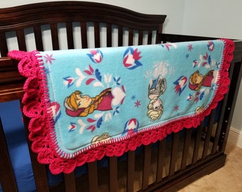 Frozen Themed Baby or Toddler Fleece Blanket with Crocheted Edge