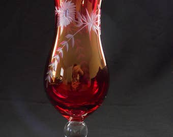Bohemian Art Glass Vase Ruby Red Cranberry Cut to Clear with hand Etched Flowers