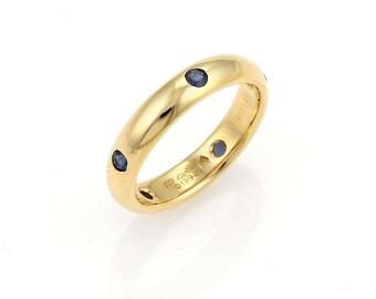 17246 - CARTIER 1992 Stella Sapphire 18k Yellow Gold 4mm Band Ring - Size EU 50 US 5.25