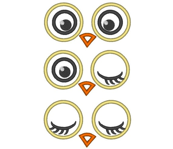 your toy eyes owl eyes applique machine embroidery applique rh etsy com cartoon owl big eyes Cute Owl Eyes