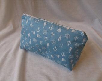 Medium sized makeup/wash bag in a pale blue nautical cotton