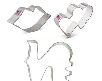 Valentines Romance Cookie Cutter Set, 3 pc, Ann Clark, Tin Plated Steel