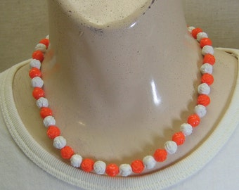 Orange and White Plastic Rose Bead Necklace, 17 Inches