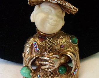 HAR Brooch Vintage Smiling Laughing Buddha Faux Ivory & Jade Glass Rhinestone Gold Plate Pin