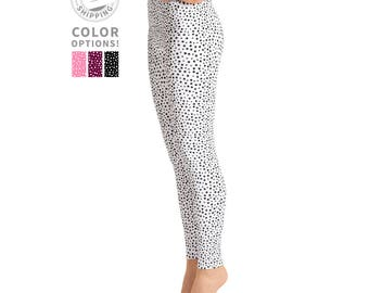 White & Black Polka Dot Leggings | Yoga Leggings | Simple Leggings | Dance Leggings | High Waisted Pattern Leggings | Yogawear | Loopy Jayne