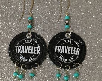 Illusive Traveler Grapefruit Ale Beer Cap Earrings, beerings, recycled can jewelry, one of a kind, boho