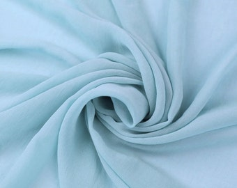 "JN00105 Baby Blue Chiffon Soft Smooth Sheer Lightweight Deep Drape Fashion Home Decor 58/60"" Lightweight Fabric By The 1 Yard Lot"