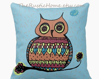 Talavera owl toss pillow square 16x16 made to order choose blue or white owls pillows rustic home decor