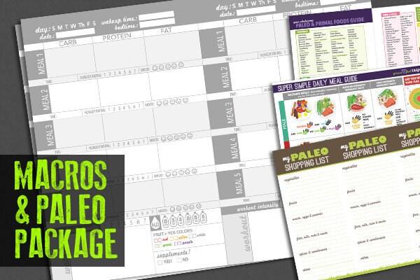 paleo food journal log or diary track macronutrients