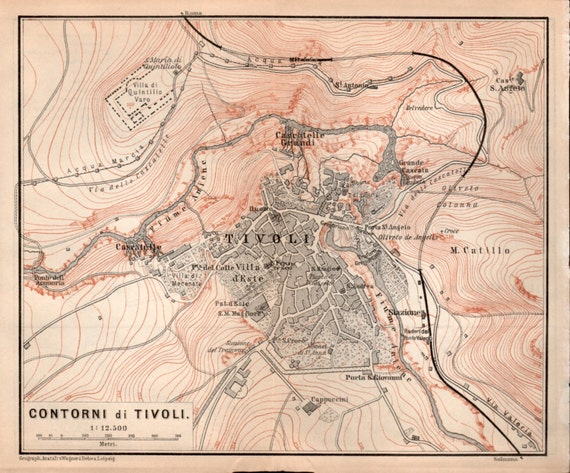 1903 Tivoli Antique Map Lazio Map Vintage Lithograph Villa