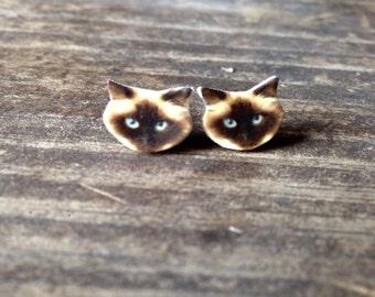 Himalayan earrings cat feline jewelry longhair post stud