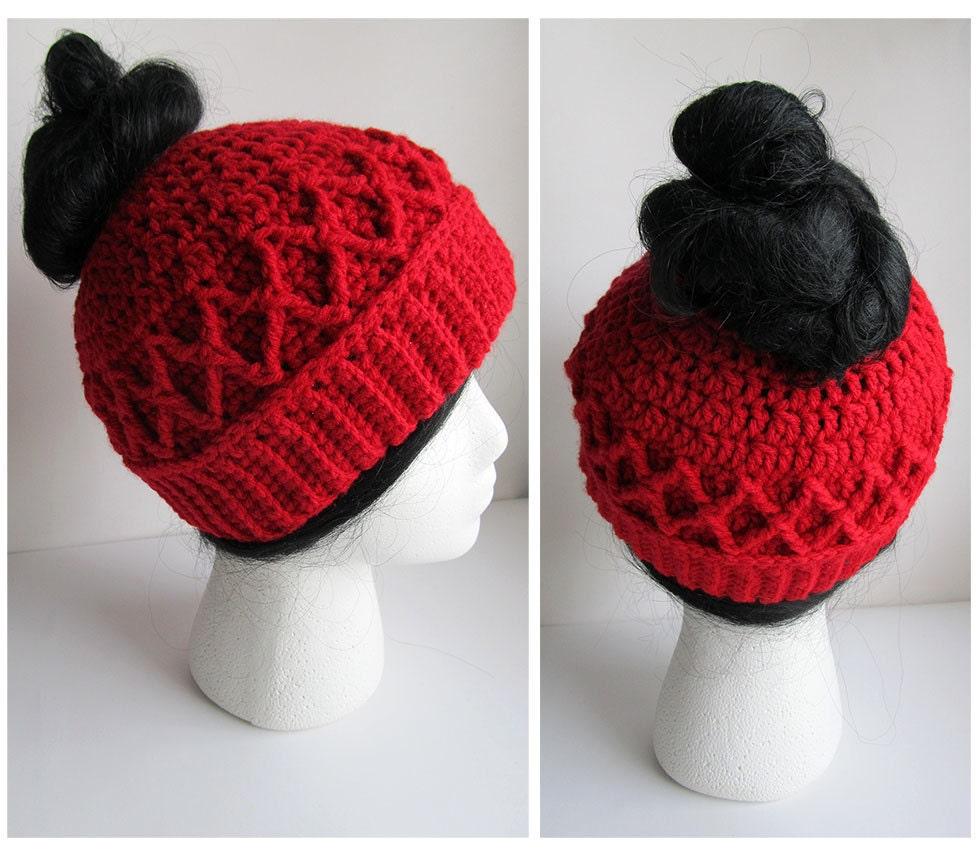 Messy Bun Hat CROCHET PATTERN - Pattern for Crochet Ponytail Hat ...
