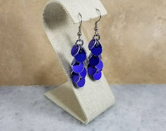 Shaggy Chainmaille Earrings - Purple
