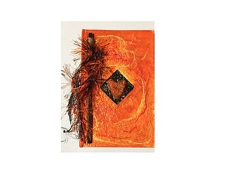 Altered Journal: Orange & Black,Altered Book, Journal, Altered Journal Cover, Textured Journal, Earthy By Design