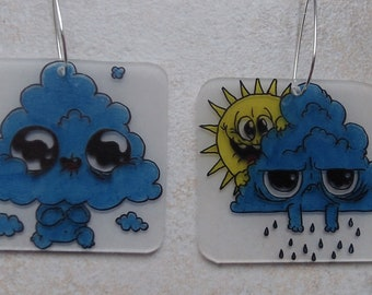 funny cloud earrings