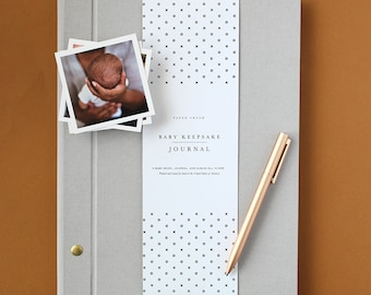Modern Baby Book in Gray - Baby Memory Book