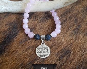 Cure Cancer Charm Bracelet | Cure Cancer Charm | Cure Cancer Bracelet | Cancer | Cure | Charm Bracelet | Pink Ribbon | Rose Quartz