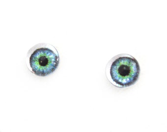6mm Green Doll Glass Eyes Cabochons - Tiny Glass Eyes for Jewelry or Doll Making - Set of 2