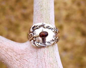 Silverplate Spoon Ring with Mahogany Obsidian Cabochon