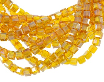 """6mm Topaz Crystal Cubes with AB Finish - Full 16"""" Strand - About 61 Beads - Lovely Honey Orange Color"""