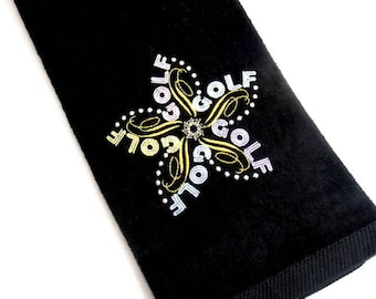 golf towel, embroidered towel, gift for lady golfer, pretty golf towel, mothers day, bridal party, birthday gift, can be personalized, color
