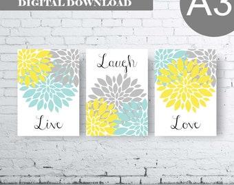 A3 Bathroom Print Art - Live Laugh Love - Aqua Grey Yellow Art- Aqua Grey Yellow Flower Bathroom. Yellow and Aqua Floral Art