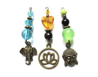lot 3 ganesh lotus pendants beads metal bronze Buddha charms