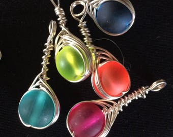 Sea Glass Handwrapped Fishbone Pendants
