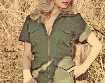 Army Dress - Military Dress - Minidress -  Mini Dress - Pinup Dress -Pin Up Dress -  Military Pin Up Dress - Pinup Clothing -  Custom Size