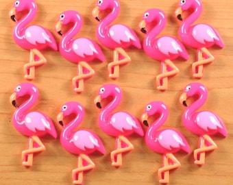 bulk lot 10/50/100 Hot Pink Flamingo Resin Cabochon Flatbacks Flat Back Scrapbooking Hair Bow Center Photo Frame Embellishments wholesale