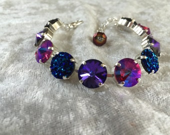 12mm swarovski crystal bracelet- fuschia, sapphire, and blue green bling embellishment- necklace and earrings bridesmaids gift- wedding