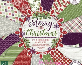 """Printed papers, collection """"Merry Little Christmas"""" 30 X 30 cm, Christmas papers, background papers, 16 leaves"""