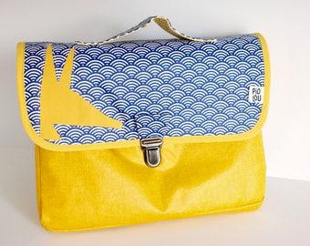 Cartable maternelle léger bleu et jaune japonais