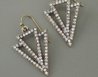 Art Deco Earrings - Vintage Inspired Earrings - Antiqued Gold Earrings - Crystal Earrings - Bridal Earrings - Wedding Earrings