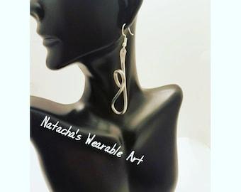 "Abstract Aluminum Wire Earrings/ Earrings hang 3"" Long"