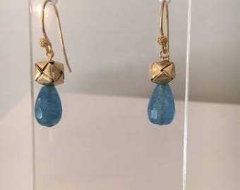 Blue Chalcedony and Gold Vermeil Earrings