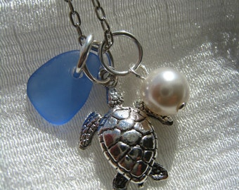 Sea Turtle and Sea Glass Necklace. Beach Wedding. Cornflower Blue Sea Glass