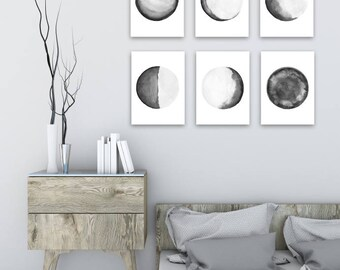 Moon Phases 6 Illustrations, Black Grey White Watercolor Art Print, Full Moon, Crescent, Half, Waning Waxing Gibbous Lunar Phase Earth Image