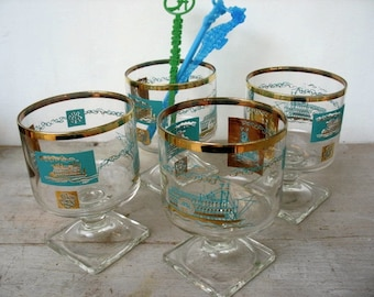 Mid Century Modern Southern Comfort Glasses Gold Turquoise Steamboat Design Set Of 4 Pedestal Small Rocks Liqueur Glasses By Federal Glass