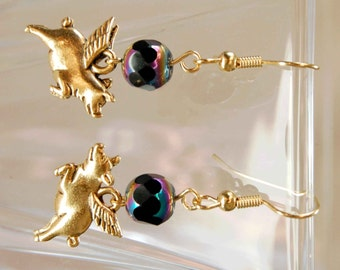 When Golden Pigs Fly Colorful Crystal Earrings - Choose Your Color, Flying Pig Earrings, Pigs with Wings Dangle Earrings, Pigasus Earrings