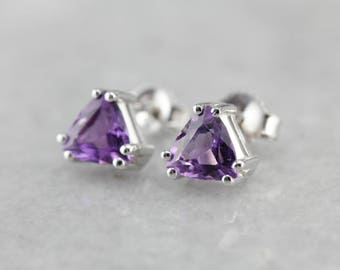 Amethyst Trillion White Gold Stud Earrings, February Birthstone CW0DHR-N