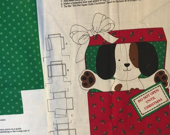 THE CHRISTMAS PUPPY Fabric Panel