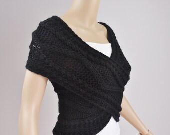 Super Slim - Cross Sweater/Capelet/Neck warmer in BLACK-ready to ship