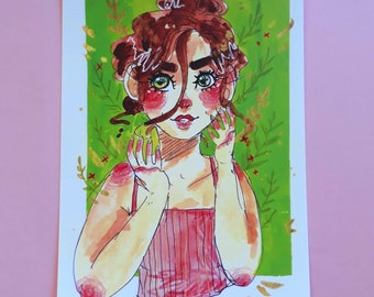 Grin postcard print
