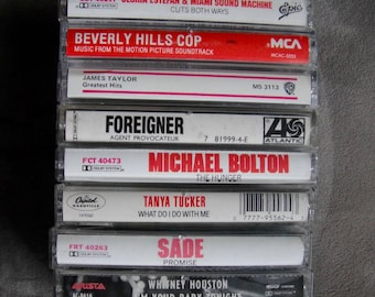 80's Cassette Tape Whitney Houston, Tanya Tucker, Beverly Hills Cop Soundtrack, James Taylor